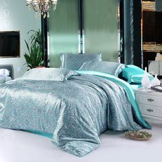 Cheap sheets bedspreads, Buy Quality silk bedding set directly from China bedding set king Suppliers: Water aqua blue natural mulberry silk bedding set king size queen linen duvet cover bed sheet bedspread Bedding And Curtain Sets, Cheap Bedding Sets, Bedding Sets Online, Queen Bedding Sets, Luxury Bedding Sets, Modern Bedding, Silk Bedding, Blue Bedding, Duvet Bedding