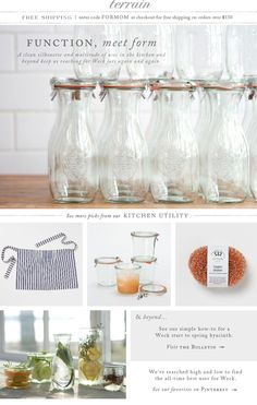 Function, Meet Form: Weck in the kitchen and beyond at terrain. I heart these Weck bottles and jars. Glass Storage Jars, Jar Storage, Beach House Lighting, Kitchen Organisation, Organization, Changing Spaces, Weck Jars, Prep Kitchen, Kitchen Ideas