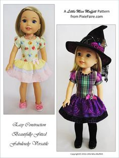 Little Miss Muffett Time to Celebrate Doll Clothes Pattern WellieWishers Dolls | Pixie Faire