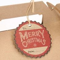6 Scalloped Round 'Merry Christmas' Large Gift Tags