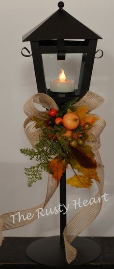 Fall Lantern on Stand by TheRustyHeart on Etsy, $29.99