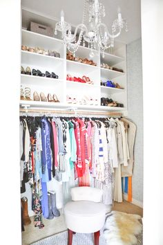 ros fun functional walk in closet puts her favorite outfits on display - Small Walk In Closet Design Ideas