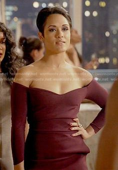 Anika's burgundy off-shoulder dress on Empire.  Outfit Details: http://wornontv.net/54411/ #Empire