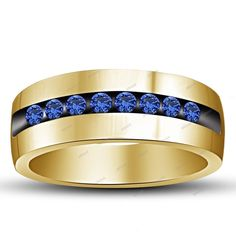 1.10 CT. T.W. Round Blue Sapphire in 10K Yellow Gold Plated Men's Band Ring  #Affoin8 #MensBandRing