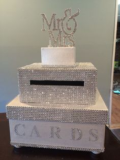 Wedding card box with bling ribbon beads and mr. And mrs. Last name can be added on little box to make it personalized for an extra charge (see variations) * Box can be customized. Different color or rhinestones. Card Box Wedding, Wedding Table, Wedding Reception, Wedding Gifts, Wedding Box For Money, Wedding Venues, Wedding Sparklers, Reception Card, Trendy Wedding