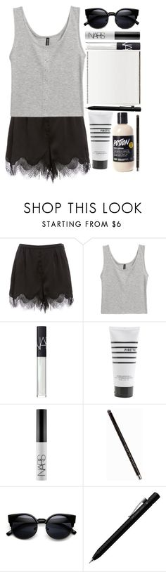 """Untitled #85"" by blue-skies-mmiv ❤ liked on Polyvore featuring H&M, NARS Cosmetics, Pirette, MAKE UP STORE, Faber-Castell, beach, edgy, artistic and CasualChic"
