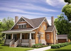The Arts and Crafts Bungalow - Without Garage II | The Red Cottage Floor Plans, Home Designs, Commercial Buildings, Architecture, Custom Pla...