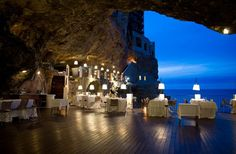 Italian Cave Restaurant with an awesome view that attract the attention of people at once. Hotel Restaurant is seriously beautiful and stunning. Wedding Venues Italy, Unique Wedding Venues, Italy Wedding, Wedding Locations, Unique Weddings, Destination Wedding, Weddings In Italy, Italian Wedding Venues, Wedding Destinations