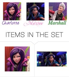 """Charlotte,Maxine and Marshall (Descendants)"" by maxinehearts ❤ liked on Polyvore featuring art"