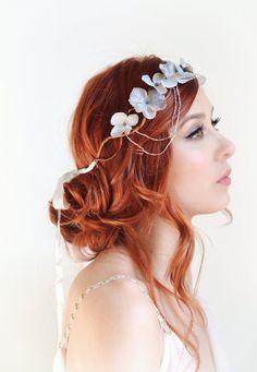 Silver flower crown wedding headpiece grey by gardensofwhimsy