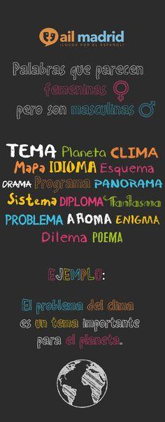 """¡Ojo! Algunas palabras acabadas en """"a"""" son de género masculino. Aquí tienes algunos ejemplos. //  Be careful! Some words ending in """"a"""" are masculine. Here you have some examples.  #vocabulary #AIL #Spanish"""