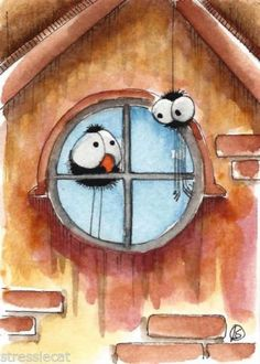 ACEO-Original-watercolor-painting-whimsical-bird-crow-attic-spider-window