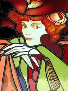 Detail from Art Nouveau stained glass window by George de Feure