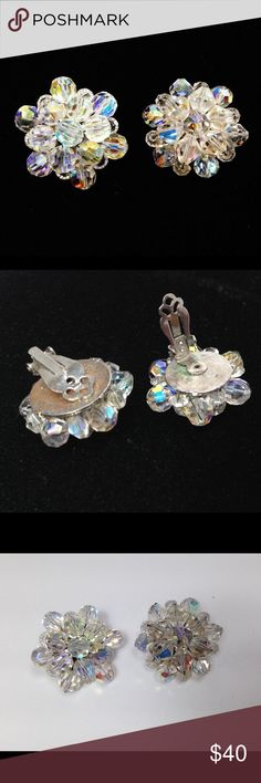 Vintage Aurora Borealis Cluster Earrings Vintage Aurora Borealis cluster bead clip on earrings in excellent condition. These beauties sparkle! Measures approximately 1 1/8 in diameter and clips work well. Vintage Jewelry Earrings #vintagejewelry