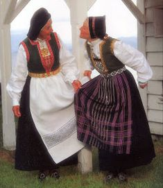 FolkCostume&Embroidery: Overview of Norwegian costume, part Hordaland. This image shows the bunad from Tysnes on the left, and Fitjar on the right. Folk Costume, Costumes, Image Shows, Traditional Outfits, Norway, Scandinavian, Sari, Embroidery, How To Wear