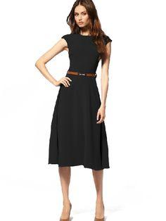 S-XL Western High Waist Expansion Short Sleeve Maxi Dress Black