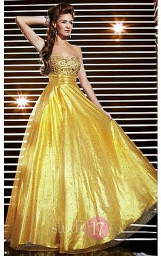 Strapless Gold A-line Dress ST-12312