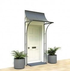 For your front door porch, Garden Requisites offer porch designs in steel. Bespoke metal porches available - Victorian porches and porch canopy designs. Door Canopy Modern, Front Door Canopy, Front Door Porch, Porch Doors, Windows And Doors, Entrance Doors, House Front, Porch Uk, Porch Garden