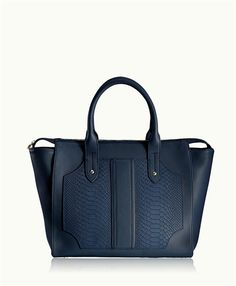 Navy Gates Satchel | Natural Grain and Embossed Python Leather