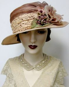 Lady Almina Parsisal Cloche Perhaps my very favorite cloche in this Downton Abbey inspired collection, is this very feminine tribute to Flapper Hat, 1920s Flapper, 1920s Hats, Antique Lace, Vintage Lace, Vintage Style, Downton Abbey, Flapper Wedding, Sinamay Hats