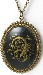 Vintage Scorpio Cameo Necklace by TashaHussey on Etsy, $42.00. I love this! Want!