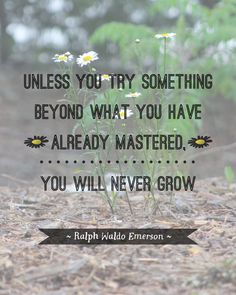 """Unless you try to do something beyond what you have already mastered, you will never grow."" ~ Ralph Waldo Emerson"