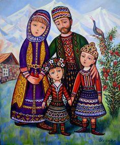 Sevada Grigoryan, Happy Family (Arm. Երջանիկ ընտանիք), 2013, 60x50 cm, mixed media on canvas. Sold.