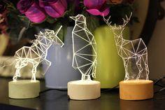 Christmas in july sale - Animal night light gift set, reindeer lamp, penguin lamp, unicorn lamp, nursery decor Diy Luminaire, Luminaire Design, Lamp Design, Lighting Design, Lampe Decoration, Table Decorations, Deer Lamp, Animal Night Light, Concrete Lamp