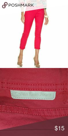 NWOT Bright Rose Calvin Klein Jeans Skinny Crop Bought this with the black one! I'm size 10 now! Didn't even use this beautiful pair of jeans!  Let me know if you're interested and if you have any question!  I accept bundles and trades!  Feel free to make an offer! Calvin Klein Jeans Jeans Skinny