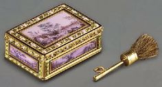 Enamelled gold box for rouge and patches with brush by Joseph-Etienne Blerzy, 1780-1782