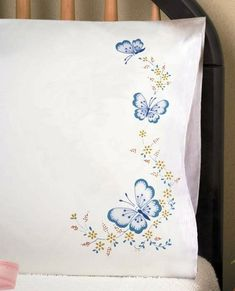 Tobin Stamped #embroidery #pillowcases Butterfly ♥
