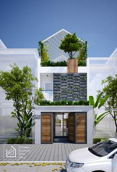 Mr Cuong's House - District 9 - Ho Chi Minh City on Behance Favorite House Front Design, Small House Design, Modern House Design, Modern Tropical House, Tropical Houses, Facade Design, Exterior Design, Modern Architecture House, Architecture Design
