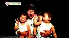 Song Il Gook introduces his triplets to the world