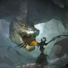 just a image crossed my mind ,a dragon and its rider protecting their homeland from a giant monster Mythical Creatures Art, Magical Creatures, Fantasy Creatures, Creature Concept Art, Creature Design, Fantasy Artwork, Cool Dragons, Dragon Artwork, Dragon Rider