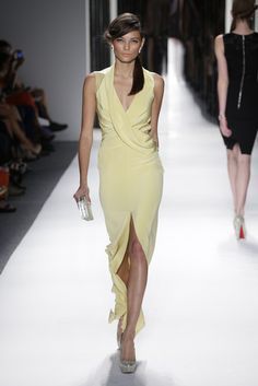I love this lemon merengue color...and the draping is just lovely. Jenny Packham Spring 2013