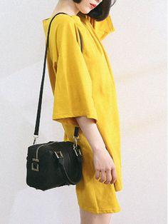 Yellow 3/4 Sleeve Asymmetric Hem T-shirt Dress | abaday