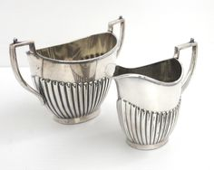 Antique silver plated sugar bowl and creamer, Georgian style, half ribbed sides, gold washed interiors, substantial size and weight, 1800s by CardCurios on Etsy