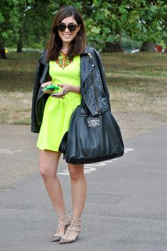 Editor Tala Samman in an electric-green dress and Valentino heels.Photographed by Melanie Galea