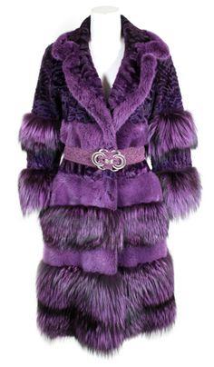 Bill Blass Purple Fox Fur & Curly Lamb Coat with Belt, 1990s