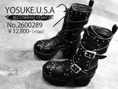 【YOSUKE ヨースケ】ゴス系におススメ♪ ハードめタンクソール レースアップ ロングブーツ ゴシック 2600289/ベルトは取り外しもOK!!
