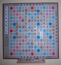 Just saw this done in a store in Lewes Beach, LOVE it!! Scrabble Game Crafts - Family Tree Board