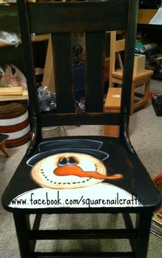 Snowman chair Hand painted by www.facebook.com/squarenailcrafts