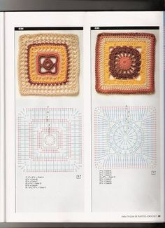 Tina's handicraft : 56 designs & pattern for granny square motives Motifs Granny Square, Crochet Square Blanket, Crochet Squares, Crochet Granny, Granny Squares, Crochet Stitches Patterns, Crochet Chart, Crochet Motif, Stitch Patterns