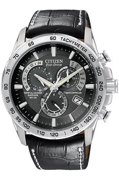Citizen Gents Eco Drive Atomic Chronograph Strap Watch AT4000-02E