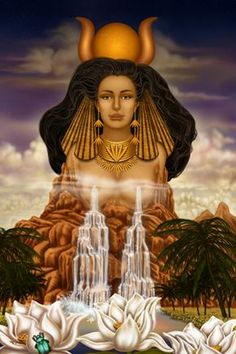 """Hathor - """"personified the principles of joy, feminine love, and motherhood.[3] She was one of the most important and popular deities throughout the history of Ancient Egypt"""" -Wikipedia"""