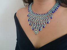 Blue Beaded Necklace Her Gift Statement Bib by LTLDizaynDIY