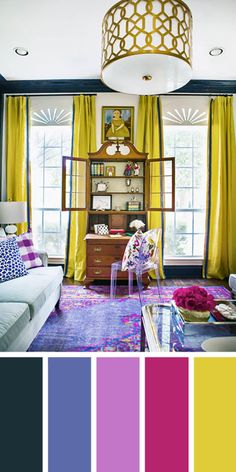 The living room color schemes to give the impression of more colorful living. Find pretty living room color scheme ideas that speak your personality. Good Living Room Colors, Living Room Color Schemes, Living Room Paint, New Living Room, Living Room Interior, Living Room Designs, Living Room Decor, Cozy Living, Decor Room