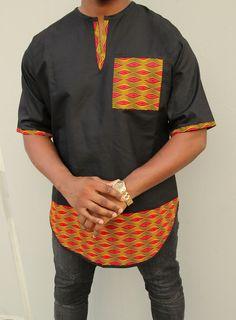 Addae Panel Top - Menogu Designs Favorite, menswear, shirt, chocolate, love, dapper, dapper man, black & white, gray, top, tops, African fashion, African inspired