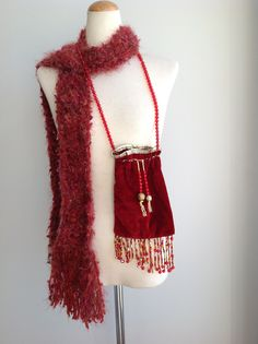 Gypsy Red Velvet Pouch Bag