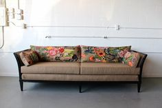 Such an awesome couch from Spruce Home #dragon #repurposed #furniture #couch #tan #asian